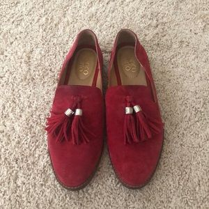 Franco Sarto Red Suede Loafers
